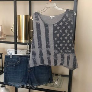 Forever 21 size M american flag cross top